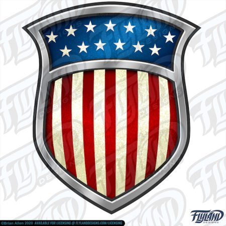 The shield has the colors from the United States' Flag embedded on the silver crest. Stock Artwork by freelance illustrator Brian Allen