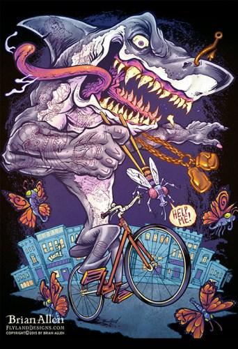Tattooed Shark On Bike T Shirt Flyland Designs Freelance