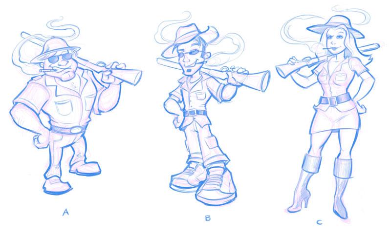 Vapor Safari character concept sketches