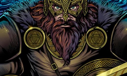 Viking warrior clutching a sword
