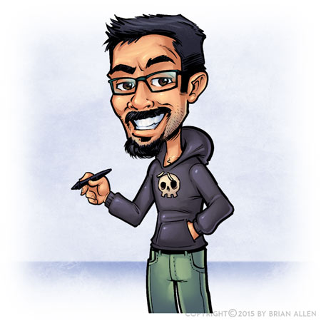 Cartoon caricature for web banne