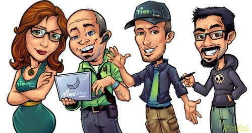 Custom caricature illustrations of doctors and team members