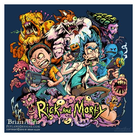 Rick and Morty Parody surrounded by all the evil characters from their show.