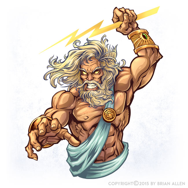 Illustrator Character Design Freelance : Zeus character design flyland designs freelance