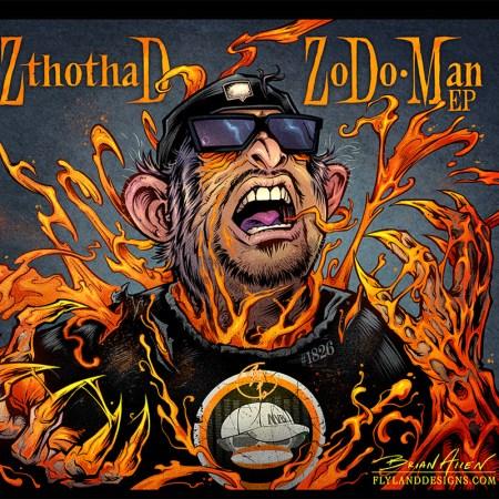 Album cover comic book illustration for hip-hop artist