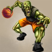 Mascot character design of a zombie basketball player