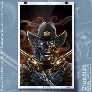 art print of a zombie cowboy