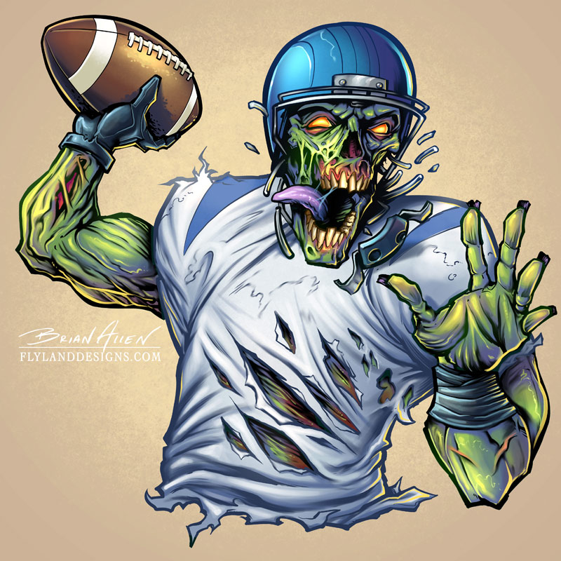 Zombie mascot character design of a football player.