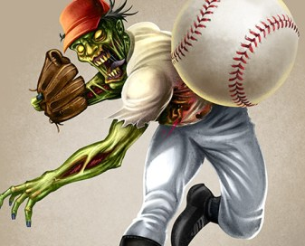 Mascot character design of a zombie baseball player