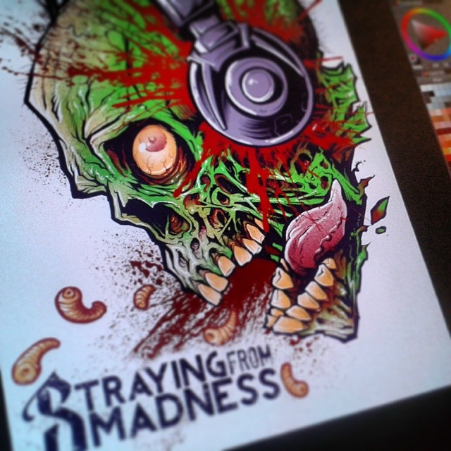 all finished with this t-shirt for straying from madnessWhat do you think?#tshirtdesign #tshirt #zombie #mangastudio #freelance #music #strayingfrommadness