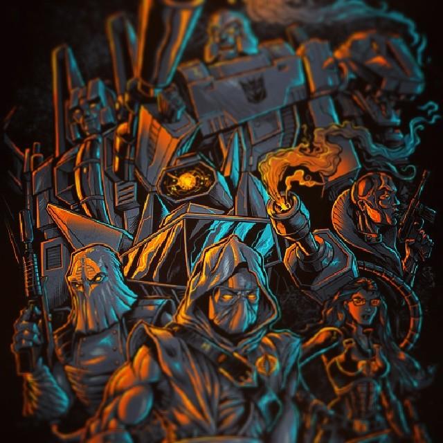 Transformers - GI Joe t-shirt I designed for 80stees.com.  Oficially licensed by hasbro.#tshirtdesign #tshirt #transformers #gijoe #crossover #dark #detailed #illustration #freelance #cobra #decepticons