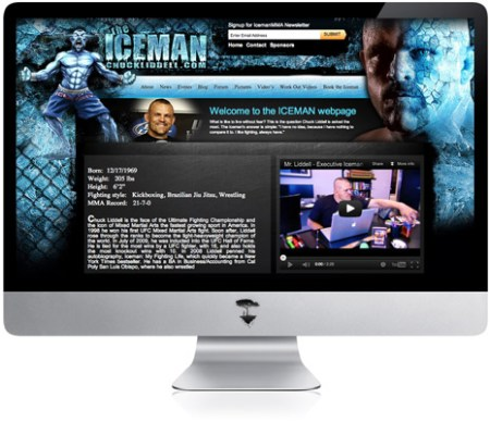 Website graphic design for Chuck Liddell, The Iceman