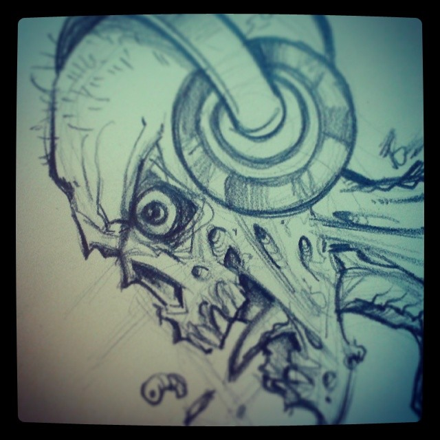 Rough pencil sketch of a zombie wearing headphones.#zombie #illustration #sketch #skull #pencil #drawing