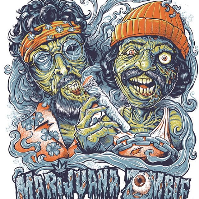A parody T-shirt I designed for Marijuana Zombie, featuring Cheech and Chong from Up in Smoke as zombies.