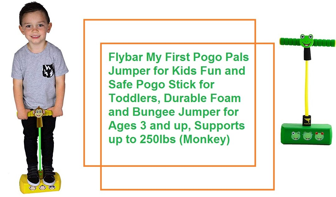 Safe Pogo Stick for Toddlers. Durable Foam and Bungee Jumper for Ages 3 and up, Supports up to 250lbs (Monkey)