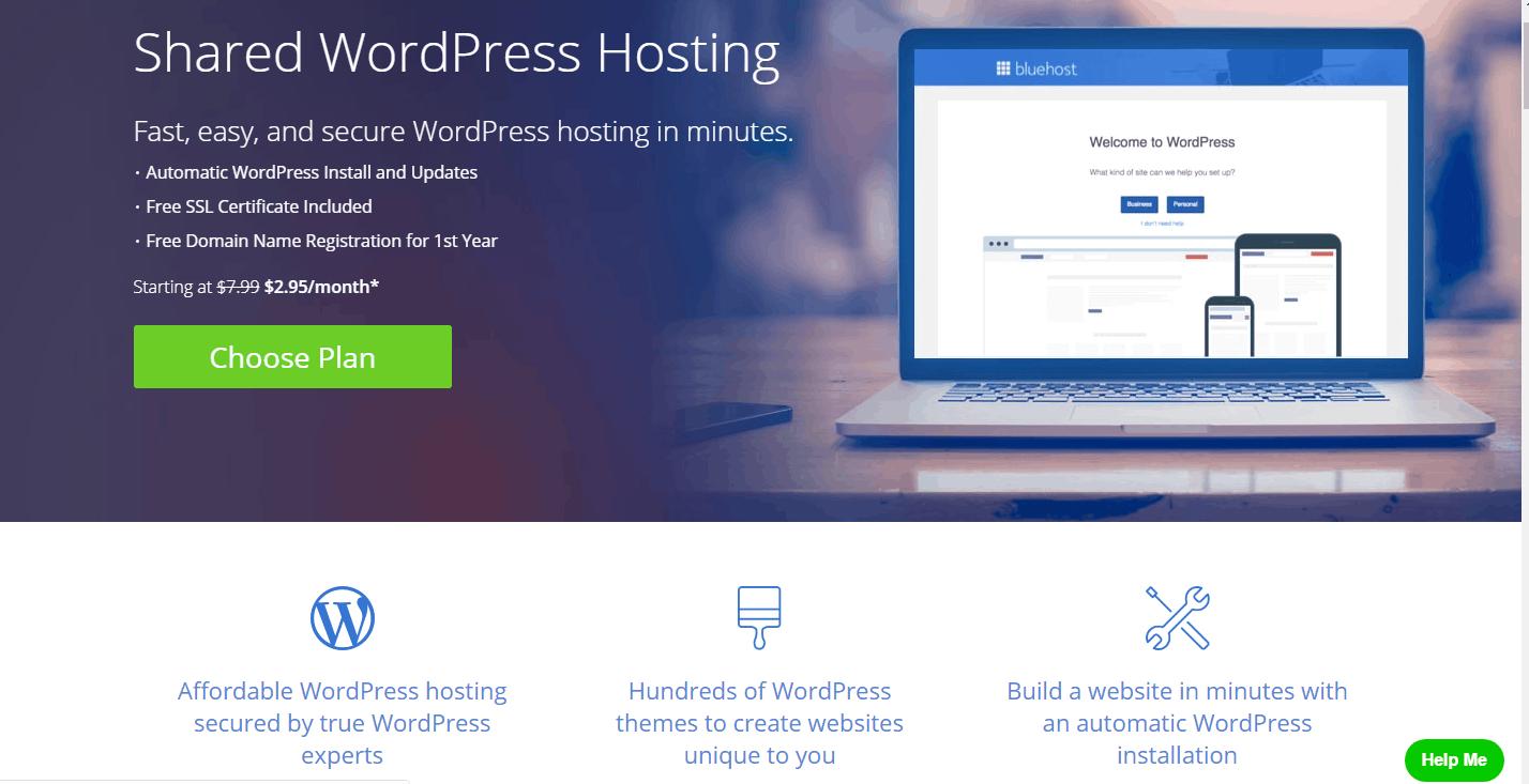 bluehost is a fast WordPress hosting service