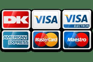 Betal med alle typer kort hos os