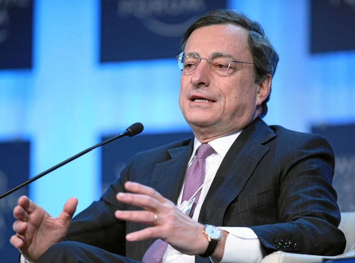 DAVOS/SWITZERLAND, 27JAN12 - Mario Draghi, President, European Central Bank, Frankfurt is captured during the session 'Europe's Economic Outlook' at the Annual Meeting 2012 of the World Economic Forum at the congress centre in Davos, Switzerland, January 27, 2012.. . Copyright by World Economic Forum. swiss-image.ch/Photo by Monika Flueckiger