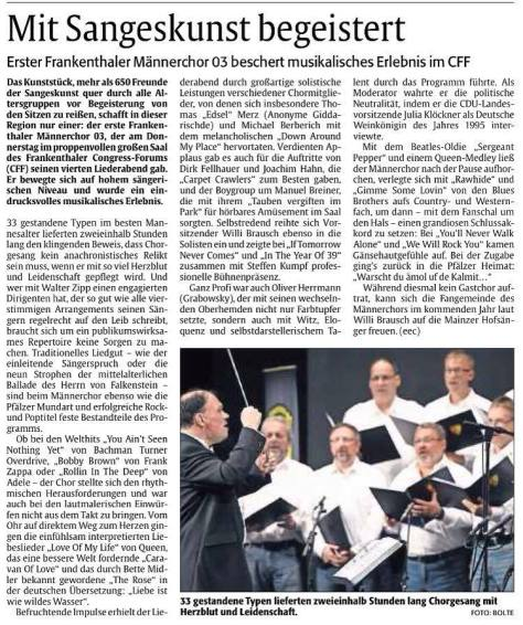 """Bericht zum 4. Liederaben, aus """"DIE RHEINPFALZ"""". Foto: (C) Bolte"""