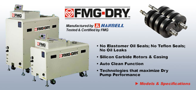 FMG-DRY vacuum pumps. Dry Vacuum Pumps manufactured by Hanbell, tested and certified by FMG.