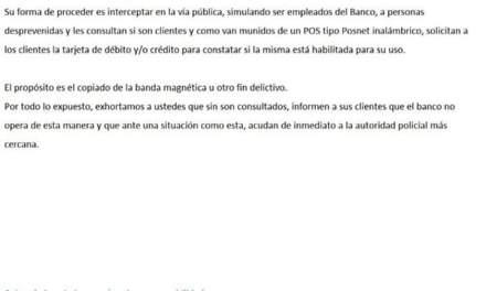 Alerta: Movimientos delictivos  en los ingresos de las filiales de los bancos  Córdoba