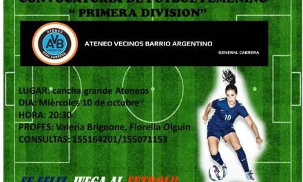 Se abre convocatoria de fútbol femenino en Gral. Cabrera