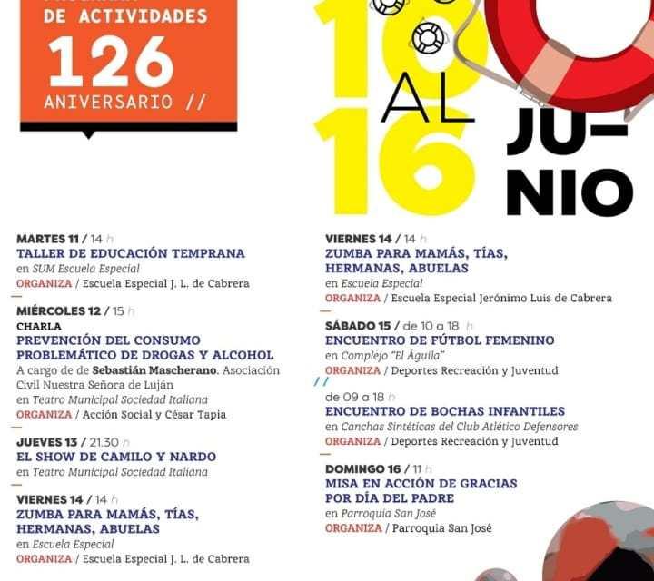 Programa de actividades por los 126 años de Gral. Cabrera