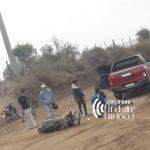 Colisionaron una moto y camioneta