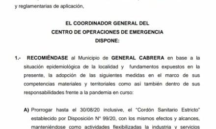 COE CENTRAL PRORROGA CORDÓN SANITARIO EN CABRERA HASTA EL 30 DE AGOSTO