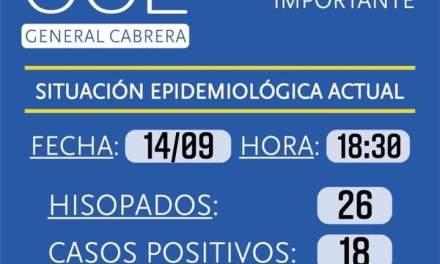 Situación epimediologica en General Cabrera – 18 nuevos casos