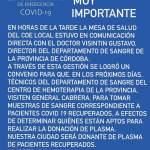 Covid-19: Buenas noticias! General Cabrera será donante de plasma