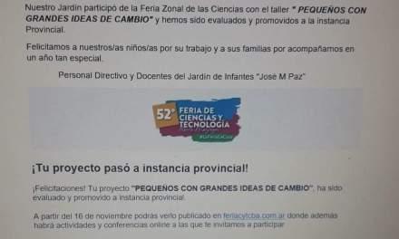 El nivel inicial de la José María Paz también paso a instancia provincial en la Feria de Ciencias
