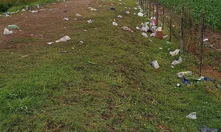 El paseo de las aves cubierto de botellas luego de las «juntadas»