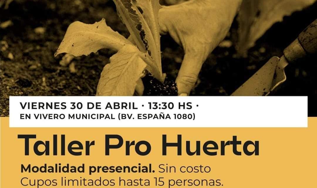 Taller de Pro-Huerta el próximo 30 de Abril