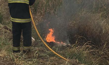 Incendio de un neumático de un camión sobre ruta 158