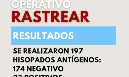 «Operativo rastrear» – 197 hisopados, 23 positivos