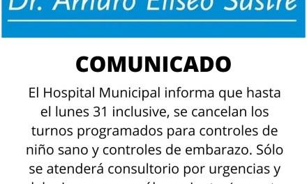 Hospital – Cancelan turnos de control sano y embarazo hasta el 31
