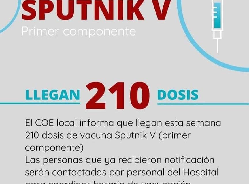 Cabrera: Llegan 210 dosis de Sputnik-V – «Epidemiológicamente estamos en un nivel estable»