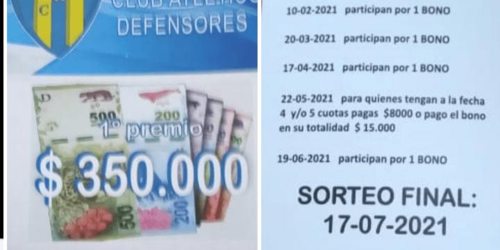 Club Defensores – último sorteo de un bono antes del sorteo final del Bono Contribución