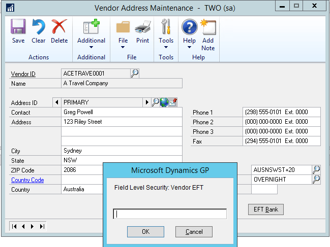Field-Level-Security-Vendor Address Maintenance