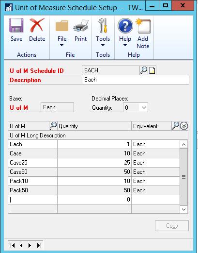 Unit of Measure Schedule Setup