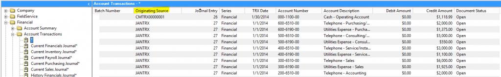 GP Account Transactions Originated Source