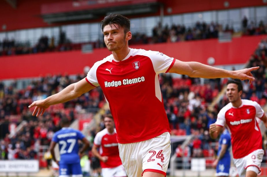 Rotherham player celebrating a goal