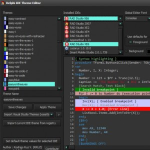 Delphi XE6 IDE Theme Skin Editor