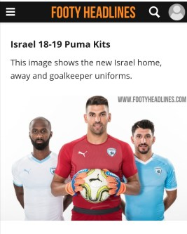 This image shows Israel's Home, Away and Goalkeeper football kits (with PUMA as their sponsor).
