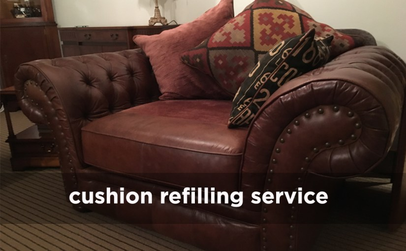 Image of leather snuggle seat with cushion refilling text