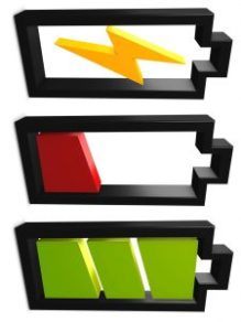 3d image, conceptual battery, charging, low, full