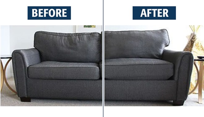 Before and after sofa cushions