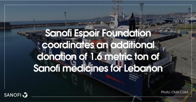 Liban: Sanofi et la Fondation Sanofi Espoir intensifient leur mobilisation