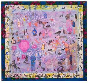 Slimen El Kamel, La Tête Rose, 2016, Acrylic paint on canvas, 150 x 160 cm. Courtesy Sulger-Buel Lovell